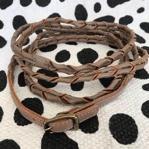 J. Jill Leather Double Wrap Twist Belt Taupe